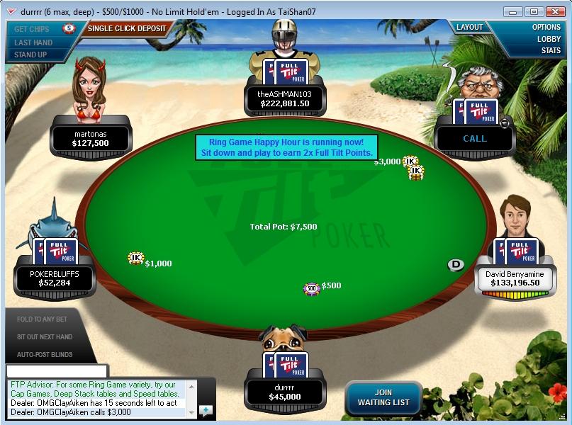 Full Tilt Lobby A High Stakes Table